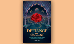 cover of the book 'Defiance of the Rose' centred on a light peach colour background
