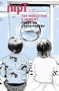 Cover of MPT 'The World for a moment' featuring an illustration of two children watching a washing machine turning, with a landscape visible inside it