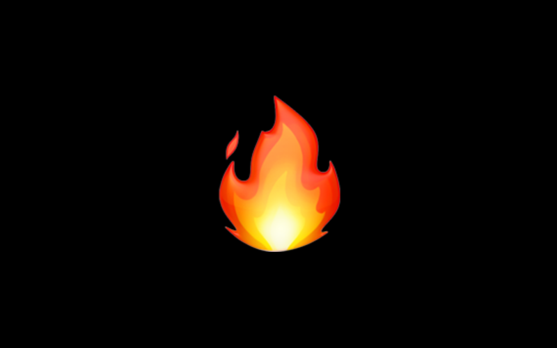 fire emoji on black background